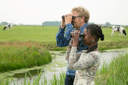 Khady-and-Gerrit, birdwatching in netherland